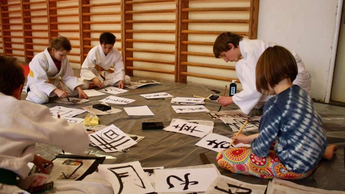 Children aikido seminar with calligraphy