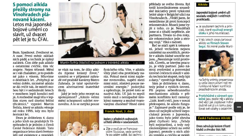 Aikido v Deníku Metro (červen 2016)
